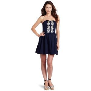 Lilly Pulitzer Mayfield Shell Navy Strapless Dress